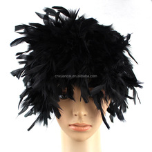 Hot sale Black feather Synthetic hair wigs
