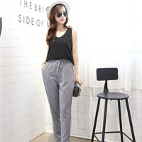 2015 summer new linen tether loose thin casual harem pants