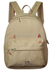2015 Wholesales Fashion best embroidery rucksack canvas backpack for girls