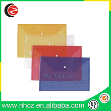 Plastic Envelop Bag with Button File Bag Office Stationery Bag
