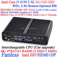 Hot selling fanless core i3 mini pc with Intel Core i3 4150 3.5Ghz CPU Intel H87 LGA1150 support 2G RAM 32G SSD Windows Linux