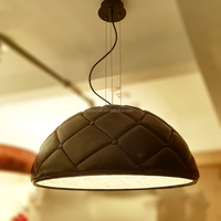 Luxury Handmade Decorative Pattern Black Leather Resin Hemisphere Hanging Garden Pendant Light ,M9124