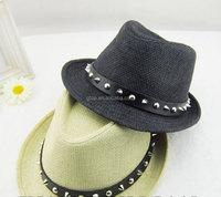 rivet spiky Straw trilby Fedora Hat for Men Women S-0019