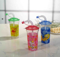 plastic clear baby cup with straw