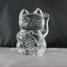 fortune crystal cat model for hotel and supermarket decoration