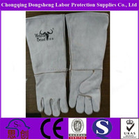 Top quality grey16'' Long sleeve welding safety glove with fur lined