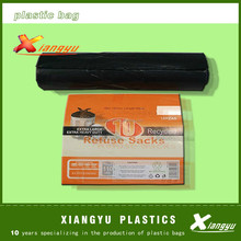 many kind of color plastic garbage bags on roll with bio-degradable
