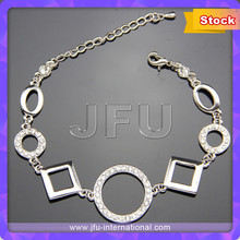 Hot Geometry Design Fashion Bracelet With 0.6-1.0 micro White Gold Plated and White Zircon Inlay