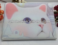 Korean lucky cat leather case for ipad mini with dormancy cover