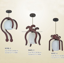 brown wood pendant lamp, ,glass tube single pendant lighting 0597/1P&0598/1P