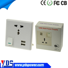 Wholesale hot models Universal 2 port euro usb wall socket 220v CE/ROHS/FCC passed