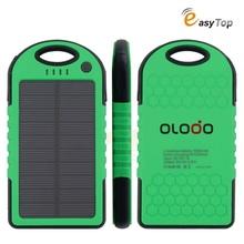 Olodo solar power bank waterproof external battery 5000mah LED light backup power for iphone/samsung/htc/lenovo/huawei/xiaomi