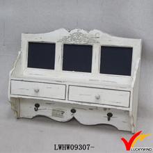 Caboclo estilo vintage eco pintado prateleira de madeira da parede com gaveta e ganchos