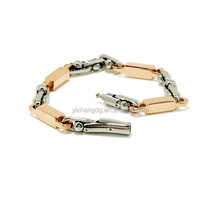 Men's Stainless Steel Two-Tone Link Bracelet with Rose Ion-Plate