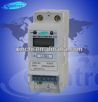 LCD display single phase two wire DIN rail energy meter