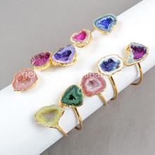 Geode druzy bangle,smart double natural gemstone bracelet,geode quartz jewelry wholesale