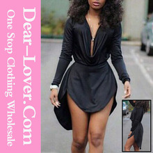 brand wholesale clothing Black Draped Long Sleeve High Low Mini Dress