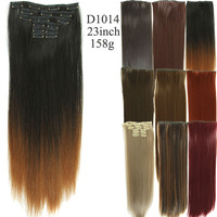 Long straight wavy clip in hair extension full head 16 clips synthetic hair extension 6pcs/set heat resistant hair