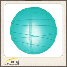 Water blue 24'' round irregular ribbed teal lantern , paper lantern for home decor