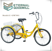 Cheap adult tricycle with three wheels for family used 7001
