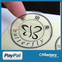 Custom waterproof transparent self adhesive sticker label / die cut sticker / clear vinyl sticker