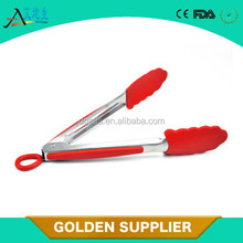 Factory supply FDA LFGB BPA-free silicone stainless steel food tongs