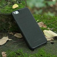 Black Italian full grain vegetable tanned Leather cell phone back case for iphone 6s