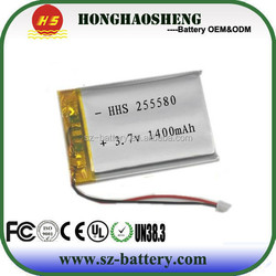 ultra thin lithium polymer battery recharge 3.7v 1400mah