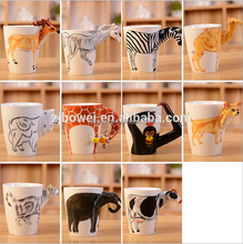2015 new product custom high quality monkey cow camel deer animal hand painted 3d ceramic mug for gift&promotion&advertisement