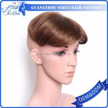 Synthetic hair u part hair pieces, virgin grey hair pieces cheap toupee for men hair replacement, no virgin hair piece