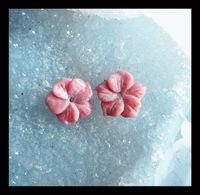 Carved Rhodonite Flower Gemstone Cabochon Pair