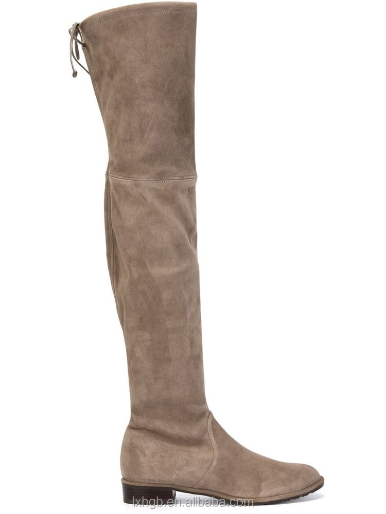 wholesale light brown suede thigh the knee high