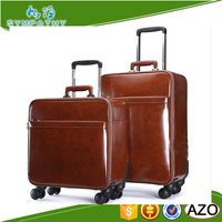 hot selling classical design wholesale vintage style leather trolley luggage