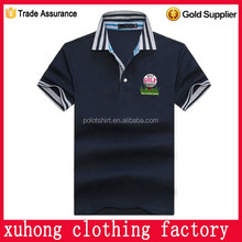 Stripe collar printing logo brand soft cotton fabrics for polo shirt high quality