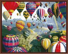 nature landscape coloring by numbers kit handmaded painting fire balloon photo GX6524