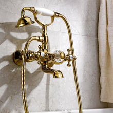 Antique Brass three handles in wall shower Faucets with Hand Shower - Ti-PVD Finish