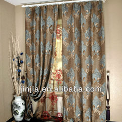 E100 polyester jacquard finished blue curtains with 8 iron rings