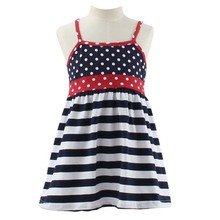 2015 frock design China factory wholesale stripe& polka dot girls party dresses