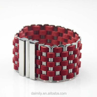 Wholesale Leather Bracelet Stainless Steel with leather weave Fashion big Bracelet