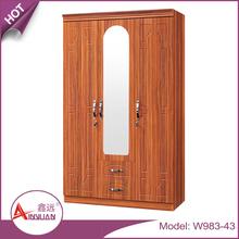 China suppiler bedroom furniture design cheap modern 3 door wooden bedroom wall wardrobe