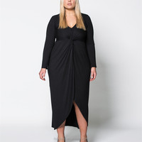 Heartbreaker Knot Front Long Sleeve Plus Size Maxi Women Dresses Black V Neck Plus Size Women Clothing HSD6393