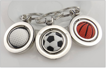 Metal basketball football golf key chain for sports rotating ball key ring special key finder for schoolbag for kids