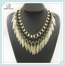 Exaggerated Gold Statement Jewelry, Charming Gold Leaf Jewelry Necklace