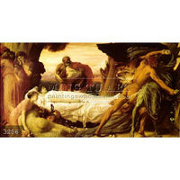 Handmade Lord Frederic Leighton classical portrait oil painting, Hercules Wrestling with Death for the Body of Alcestis