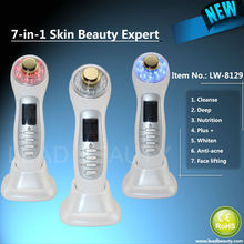 Red blue yellow led light therapy beauty massager with ultrasound bio-wave ion functions with CE & RoHS approval