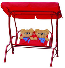 Metal kids outdoor double seat swing chair