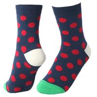 GSW-184 Haining GS red dots design green toe white heel navy cute and nice cotton plain girls tube socks women