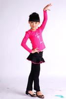 spring and autumn 2015 fashion girls long sleeve performance costume children's Latin dance dress