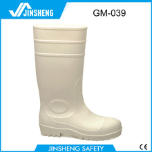 Food industry White PVC safety gumboots steel toe