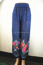 summer printed flower elastic fabric wide leg trousers pants